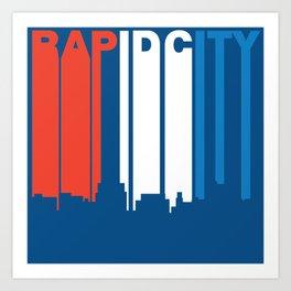 Red White And Blue Rapid City South Dakota Skyline Art Print