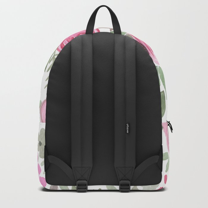 Watercolor .  Pink summer . Backpack