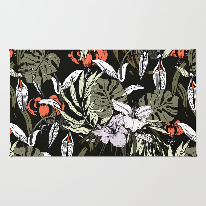 Dark tropical pattern I Rug