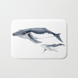 Humpback whale with calf Bath Mat