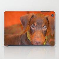 doberman iPad Cases featuring Misha the doberman by lennyfdzz