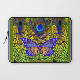 BLUE-PURPLE BUTTERFLY PEACOCK FEATHER PATTERNS Laptop Sleeve