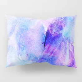 Hand painted blush pink teal blue watercolor brushstrokes Pillow Sham