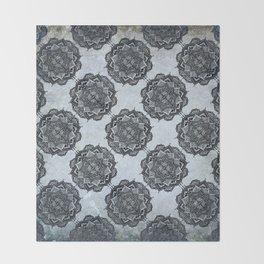 Mandala tile blue Throw Blanket