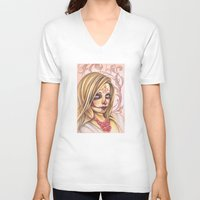 gemma correll V-neck T-shirts featuring Blonde Sugar Skull by Gemma Pallat by ToraSumi