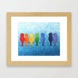 Catch A Rainbow - Birds on a Wire Framed Art Print