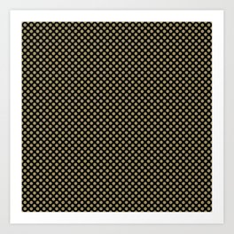 Black and Khaki Polka Dots Art Print
