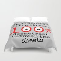 geek Duvet Covers featuring Math Geek by mailboxdisco
