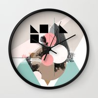 uk Wall Clocks featuring Locals Only - London - UK by Natalie Nicklin