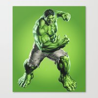 hulk Canvas Prints featuring HULK by Hands in the Sky