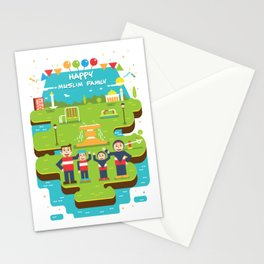Happy Muslim Family T-Shirt Stationery Cards