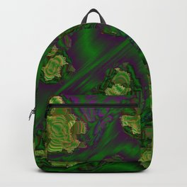 green abstract metal pattern Backpack