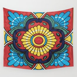 Red Tile Mexican Talavera Wall Tapestry