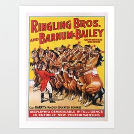 Affiche ringling bros. and barnum & bailey   capt. barrys famous educated equines. circa 1920s  Art Print