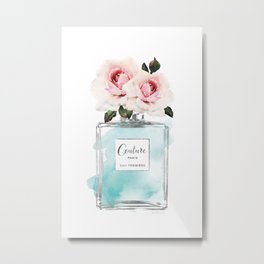 Perfume, watercolor, perfume bottle, with flowers, Teal, Silver, peonies, Fashion illustration, Metal Print