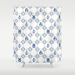 Delft Blue Holland Pottery Shower Curtain