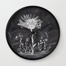 Flowers on chalkboard Wall Clock
