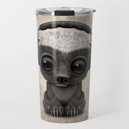 Cute Baby Honey Badger Dj Wearing Headphones Travel Mug