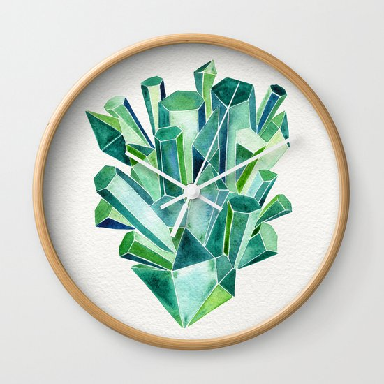 Emerald Watercolor Wall Clock
