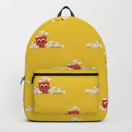 Surprised popcorn with spilled popcorn outside red container Backpack