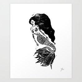 Mermaid Linocut Art Print