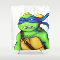 leonardo dicaprio Shower Curtains featuring Leonardo by Savanity