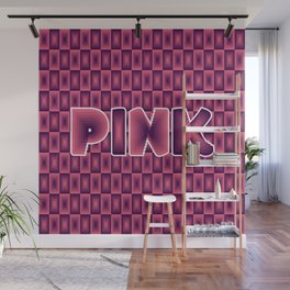 Pink square pattern 70's disco style Wall Mural