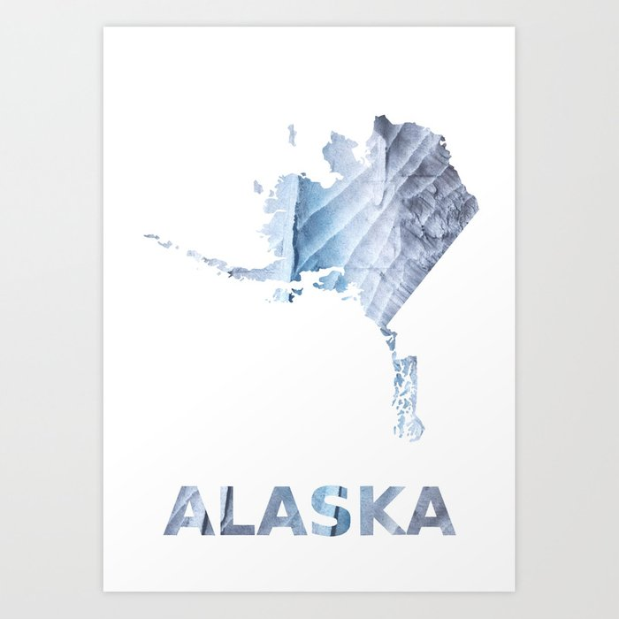 Alaska Map Outline Light Steel Blue Clouded Wash Drawing Art Print