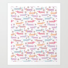 Dachshunds and Daisies in White Art Print