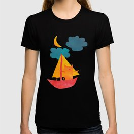 I Set Sea Under the Moonlight - A Cat and Boat and Moon. T-shirt