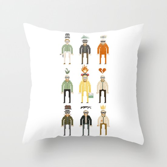 Walter White Pixelart Transformation- Breaking Bad Throw Pillow