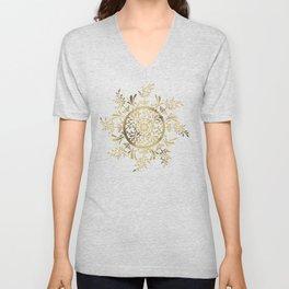Leaf Mandala – Gold Palette Unisex V-Neck