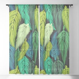 Watercolor Macrame Feather Toss in Black + Green Sheer Curtain