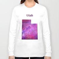 utah Long Sleeve T-shirts featuring Utah Map by Roger Wedegis
