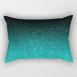 Aqua & Black Glitter Gradient Rectangular Pillow