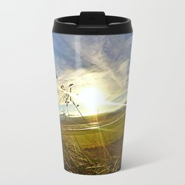 Icelandic Sunset from the Grass Roof of a Turf Farmhouse (1) Travel Mug
