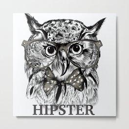 Hispter owl background Metal Print