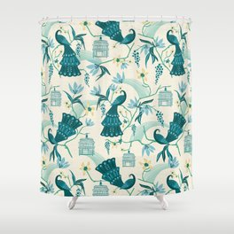 Aviary - Cream Shower Curtain