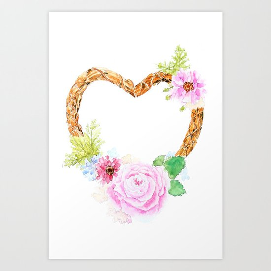 flower heart pink rose and daisy watercolor Art Print