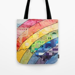 Rainbow over Jerusalem (2) Tote Bag
