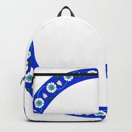 Blue Floral Tile Art Ornament Backpack