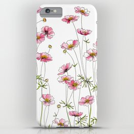 Pink Cosmos Flowers iPhone Case