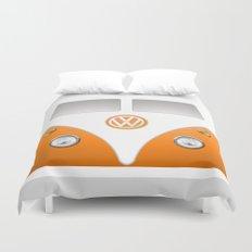 Orange VW Volkswagen Mini Van Bus Duvet Cover