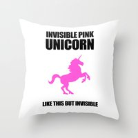 atheist Throw Pillows featuring Invisible Pink Unicorn by Jez Kemp