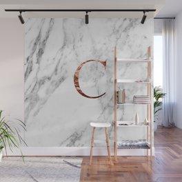Monogram rose gold marble C Wall Mural