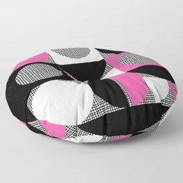 Segments and Circles Black Magenta Pink Floor Pillow