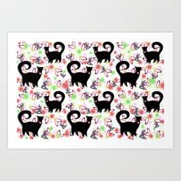 Retro Snobby Cats 2 Art Print