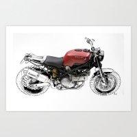 ducati Art Prints featuring Ducati Scrambler by Larsson Stevensem