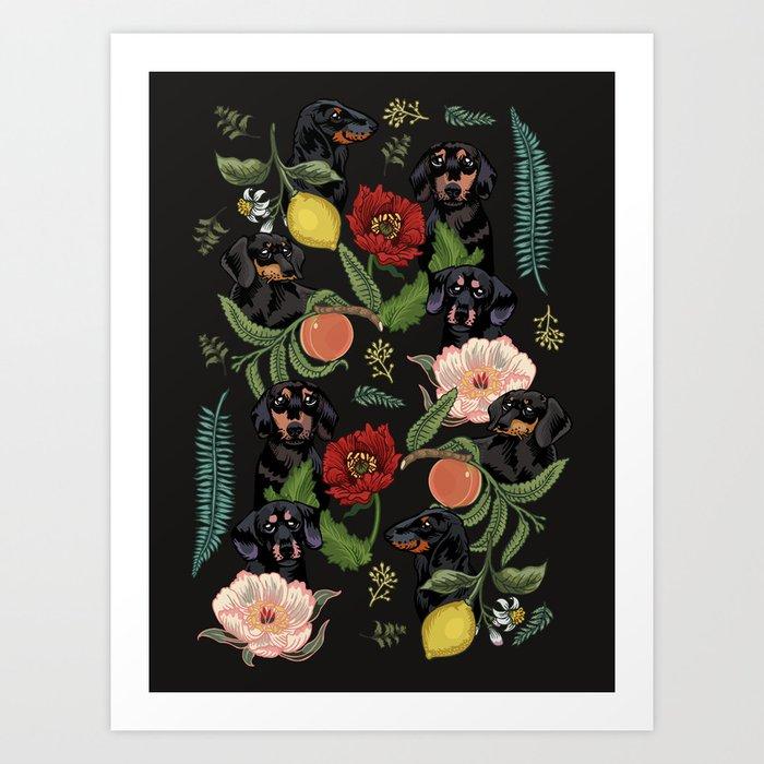 Botanical and Black Dachshund Art Print