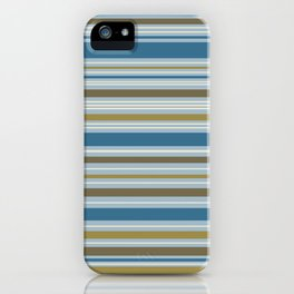 Stripey Design Gold Cream Brown Blues iPhone Case